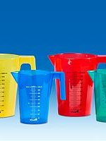Graduated beakers, stackable, coloured, PP